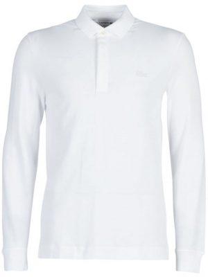 Lacoste Paris Polo Regular Fit Lacoste manches longues en coton stretch blanc