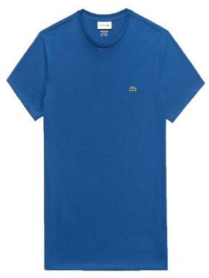 Lacoste T-shirt col rond en jersey de coton pima uni bleu