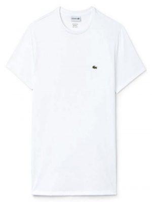 Lacoste Live T-shirt col rond en jersey de coton pima uni blanc