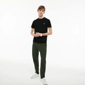 Lacoste T-shirt col rond en jersey de coton pima uni noir