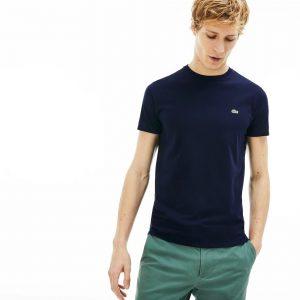 Lacoste T-shirt col rond en jersey de coton pima uni marine