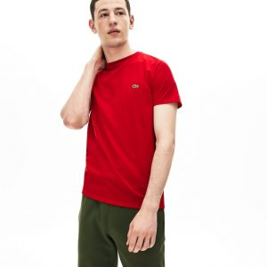 Lacoste T-shirt col rond en jersey de coton pima uni rouge
