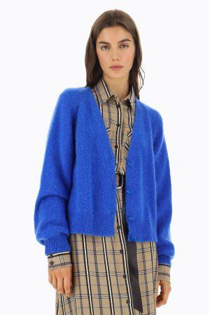 Dixie Cardigan en laine mélangée à manches bouffantes