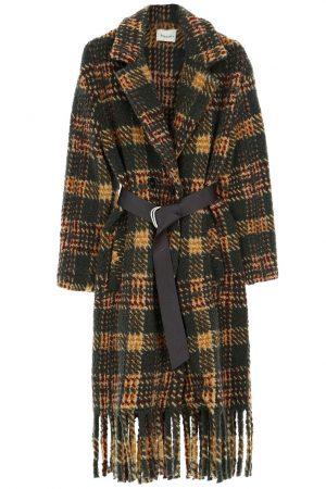 Dixie Manteau à carreaux en laine vierge mélangée