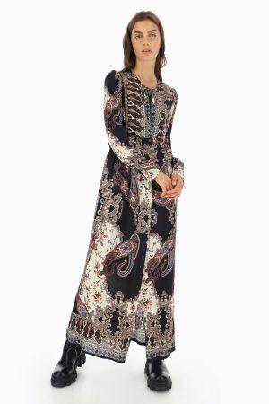 Braderie Robe longue à motif cachemire