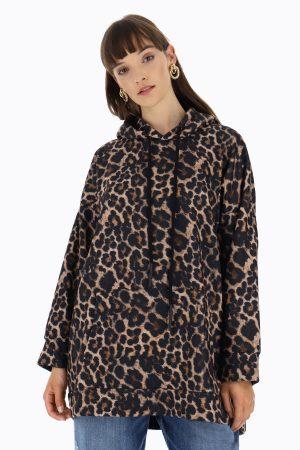 Dixie Maxi-sweat léopard à capuche