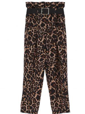 Dixie Pantalon léopard à taille froncée