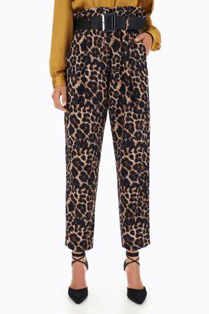 Braderie Pantalon léopard à taille froncée