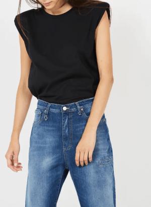 Hauts Tee-shirt col rond sans manches en coton Noir