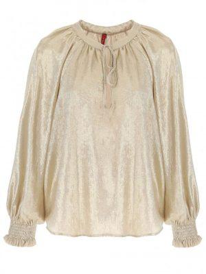 Hauts blouse à manches longues et col lace en crêpe
