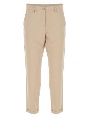 Imperial pantalon forme carotte à revers en drap