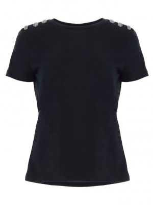 Hauts t-shirt à manches courtes et col rond noir