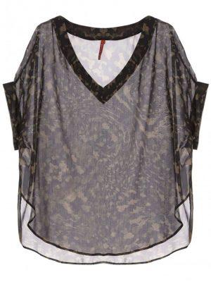 Hauts t-shirt oversize en crêpe noir imprimé camouflage