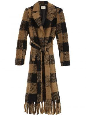 Braderie Manteau effet peluche à carreaux, ceinture et franges