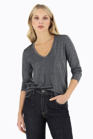 Braderie T-shirt effet lurex avec col en V