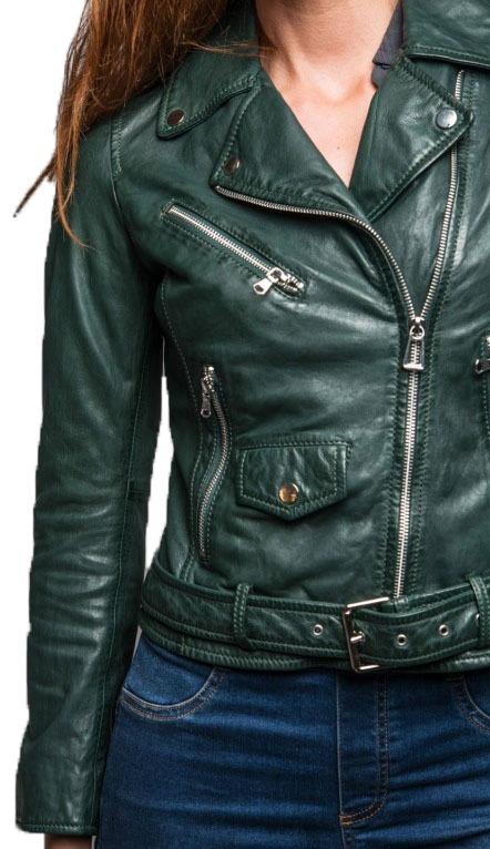 Rose Garden Blouson cuir femme biker dark green
