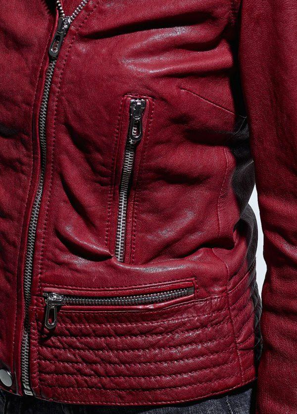 Rose Garden Blouson cuir femme rouge style biker