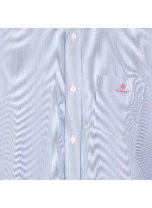 Chemises chemise col américain regular-fit rayée en coton bleu