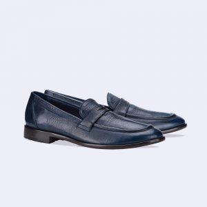 Chaussures mocassins en cuir marine