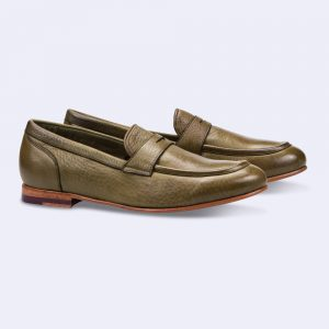 Chaussures mocassins en cuir vert