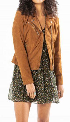 Rose Garden Blouson cuir femme cognac style biker