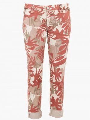 Pantalons Chino imprimé feuillage en coton mélangé Beige