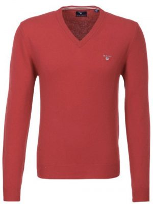 Gant pull col V en laine extra fine rouge