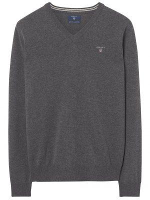 Braderie pull col V en laine extra fine gris
