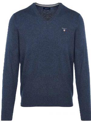 Braderie pull col V en laine extra fine bleu