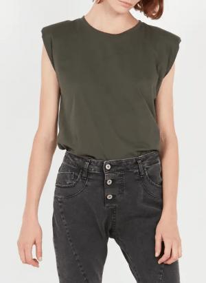 Hauts Tee-shirt col rond sans manches en coton Kaki