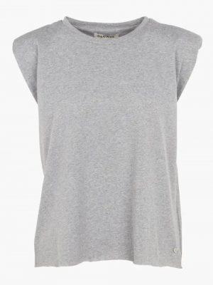 Hauts Tee-shirt col rond sans manches en coton Gris
