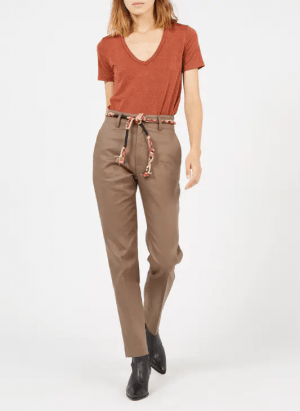 Hauts T-shirt col V droit et fluide rayé en fibres métallisées Orange