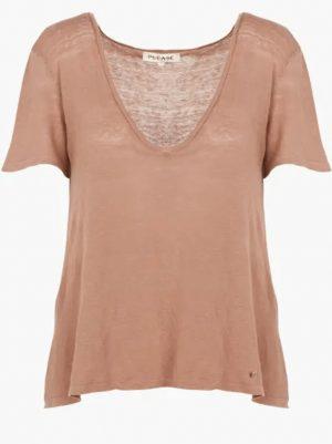 Hauts Tee-shirt col V en lin Rose