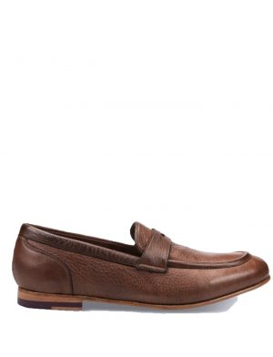 Chaussures mocassins en cuir marron