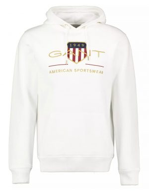 Gant sweat à capuche archive shield blanc