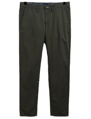 Braderie pantalon chino slim fit en sergé vert