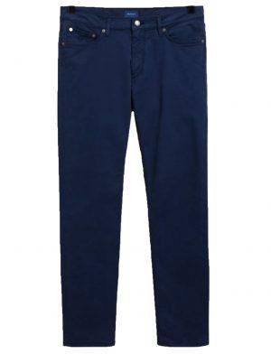 Braderie pantalon fuselé en satin bleu