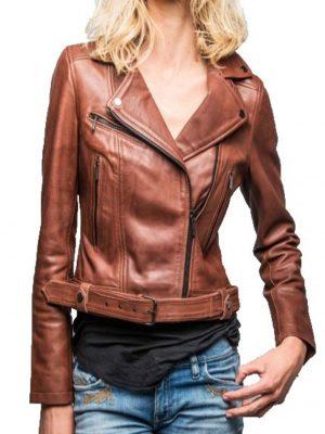 Rose Garden Blouson cuir femme biker dark cognac