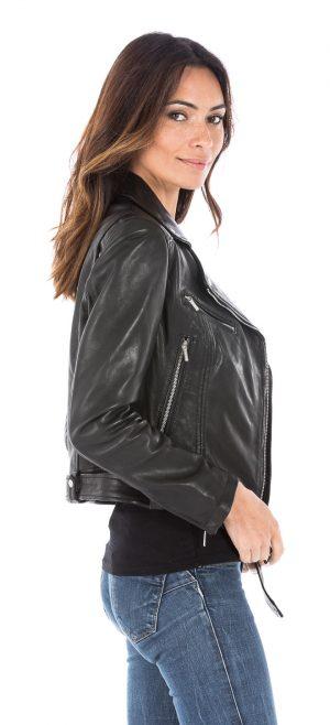 Rose Garden Blouson cuir femme biker noir