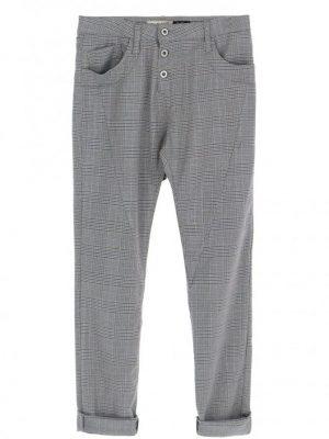 Pantalons JEAN BOYFRIEND PLEASE MODELE P78 A MOTIF PRINCE DE GALLES COLORIS AZZURO ET ARGENT
