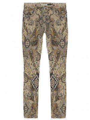 Pantalons JEAN PLEASE FORME P24 COUPE REGULAR SLIM A BOUTONNAGE APPARENT EN TOILE IMPRIMEE ARABESQUES