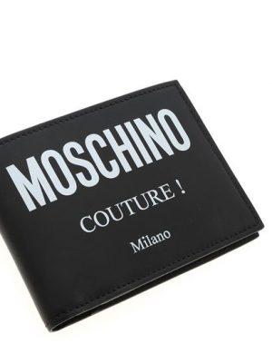 Accessoires portefeuille en cuir noir avec logo blanc