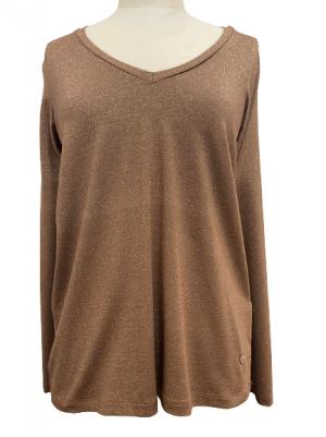 Hauts T-shirt effet lurex avec col en V