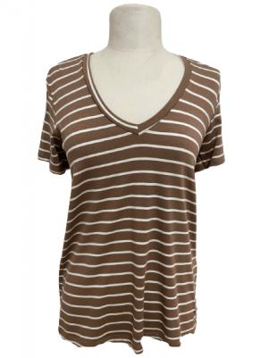 Hauts Tee-shirt col V à rayure