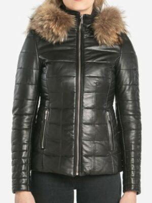 Rose Garden Veste cuir a capuche femme noir style doudoune