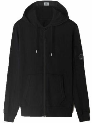 CP Company Sweat à capuche zippé en molleton léger teint en pièce