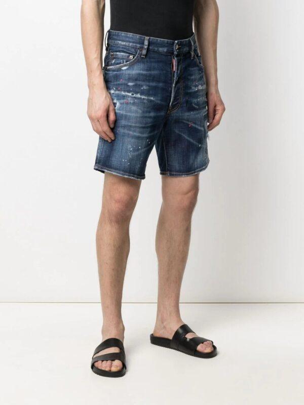 Dsquared2 short en jean à effet usé