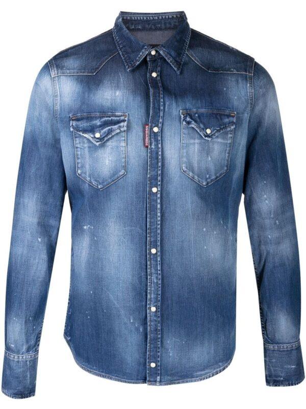 Chemises chemise en jean à effet usé