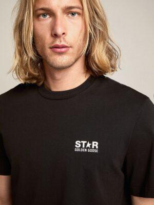 Golden Goose T-shirt Black Star Collection avec logo et étoile blancs contrastés
