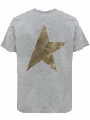 Golden Goose T-shirt Grey Star Collection avec logo et étoile dorés contrastés